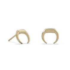 Mini Crescent Moon Studs - Gold