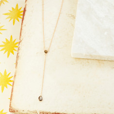 Sofia delicate drop necklace with smoky quartz