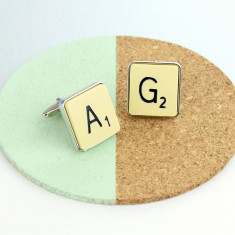 Personalised vintage letter tile cufflinks