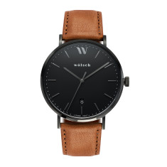 Versa 40 Watch In Black with Tan Band