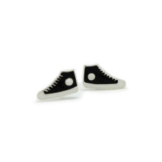 A small world black Converse stud earrings
