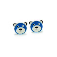 A small world blue bear stud earrings
