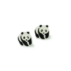 A small world pandas stud earrings