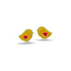 A small world canaries stud earrings