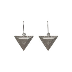 Small 3d triangular earrings (silver)