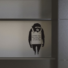 Small Banksy Monkey Sign wall sticker