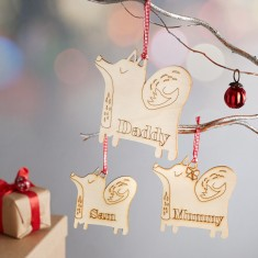 Wooden fox personalised Christmas decoration