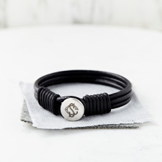 Personalised Silver And Leather Entwined Monogram Bracelet
