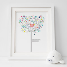 Personalised Baby Girl Happiness Tree Print