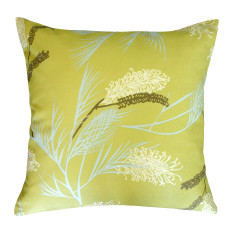Grevillea in chartreuse cushion cover