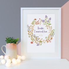 Jane Eyre romantic quote reader, I married him floral print