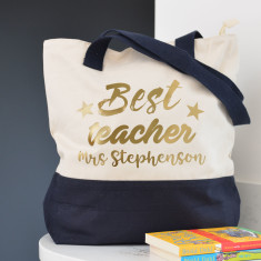 Personalised Best Teacher Metallic Shoulder Bag