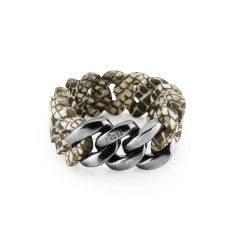 Woven bracelet in snake & antique silver