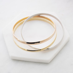 Forever yours triple tone bangle in rose gold, gold and silver