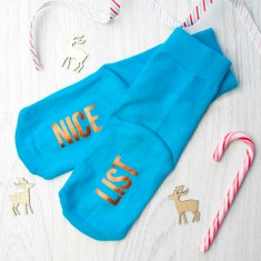 Personalised Kids Turquoise & Terracotta Orange Christmas Day Socks