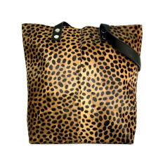 Cheetah print hide tote bag