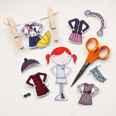 Clara Paper Doll With Winter Outfits