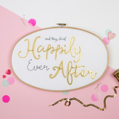 Happily ever after personalised oval embroidery hoop
