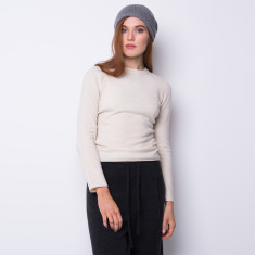 Cashmere slouchy beanie in mid grey