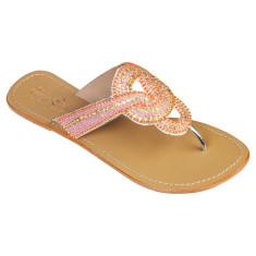 Gemma leather sandals in pink/orange