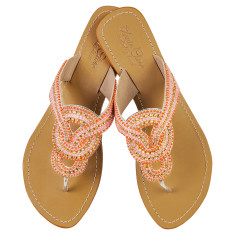 Gemma leather sandals in pink/orange