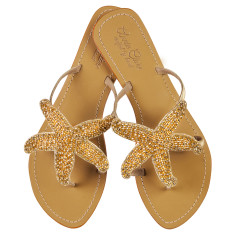 Phoebe leather sandals in gold