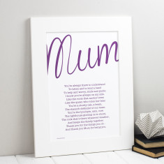 My mum personalised poem print