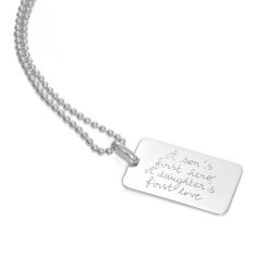 Men's personalised sterling silver dog tag chain necklace