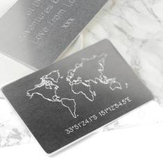 Personalised Metal Wallet Keepsake With Map
