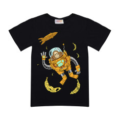 Space chimp kid's black t-shirt