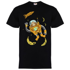 Space chimp men's black t-shrt