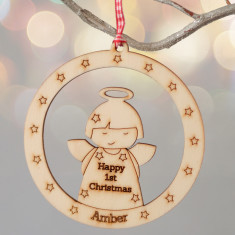 Personalised angel bauble style Christmas decoration