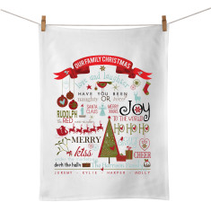 Our family Christmas personalised tea towel