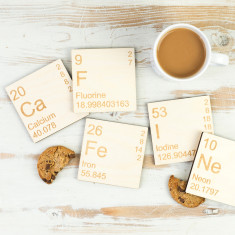 Caffeine periodic table wooden coasters