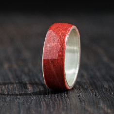 Silver bentwood ring in red