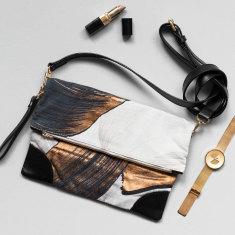 Glimmer leather clutch
