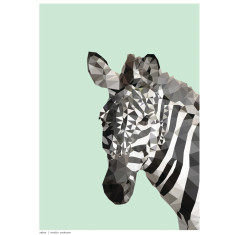 Geometric Zebra art print