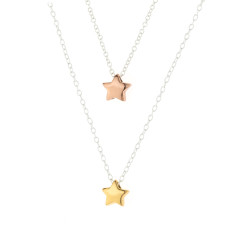 Sterling Silver With Gold Star Necklace