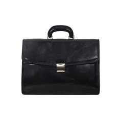 Acton leather laptop briefcase in black