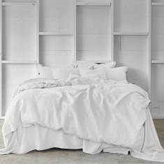 Pure linen quilt cover set in cloud white