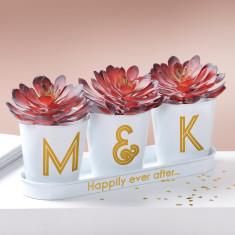 Gold Monogram Wedding Buckets