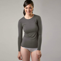 Bamboo long sleeve crew neck top in grey