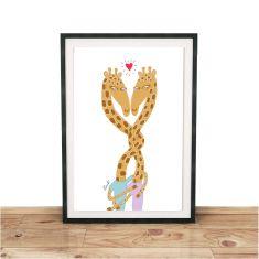 Giraffe Love Giclee print