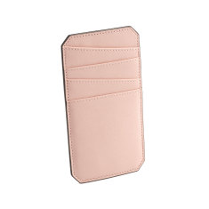 Name leather cardholder (dusty pink)