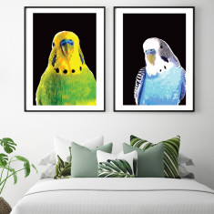 The budgie brothers art prints (set of 2)