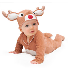 Red-nosed reindeer baby & toddler costume with hat