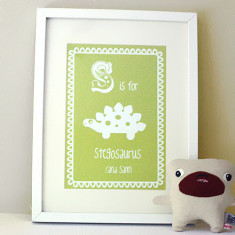 Personalised D is for dinosaur or S is for stegosaurus child's letter print