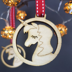 Unicorn Wooden Christmas Decoration (pack of 2)