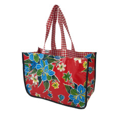 BenElke oilcloth tote bag in Hibiscus Red