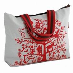 Tamelia cotton canvas Red Tree tote bag